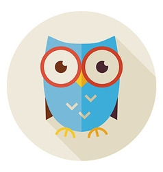 Flat Knowledge Bird Owl Circle Icon with Long vector image