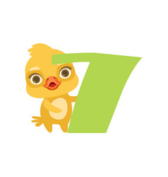 Funny cute chick bird and number seven birthday vector