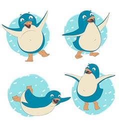 Funny set of penguin character dancing jumping vector
