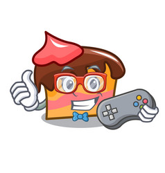 Gamer sponge cake mascot cartoon vector