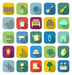 Gardening color icons with long shadow vector