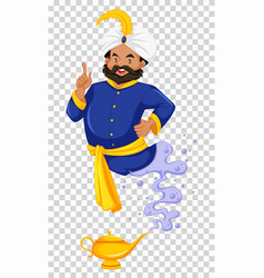 Genie flying out of golden lamp vector