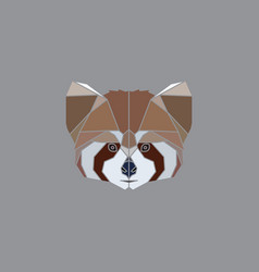 geometric red panda head vector image vector image