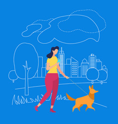 girl walk with pet in park summertime in city vector image
