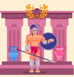 gladiator warrior fighter in armor with shield vector image