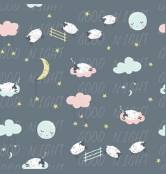 good night childish seamless pattern with sheeps vector image