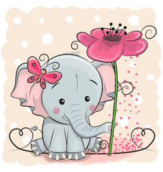 Greeting card elephant with flower vector