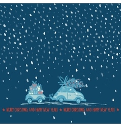 Greeting card with Christmas tree on car roof and vector