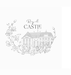 hand drawn old royal castle in floral frame vector image