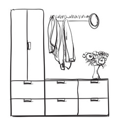 hand drawn wardrobe sketch with clothes hall vector image