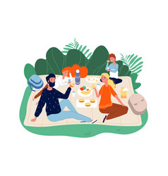 happy family time parents and kids on picnic vector image