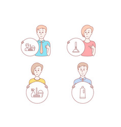 Household service plunger and cleaning service vector