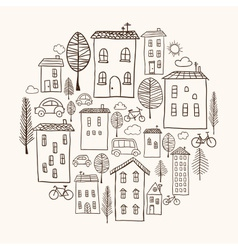 Houses doodles in circle vector image vector image