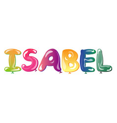isabel text design calligraphy vector image