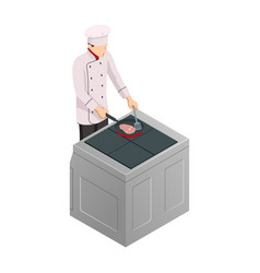 Isometric male chef isolated on white chef in vector