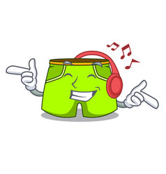 listening music cartoon shorts style for the vector image