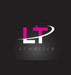 Lt l t creative letters design with white pink vector