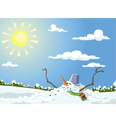 Melted snowman vector