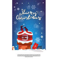merry christmas vertical banner with santa claus vector image