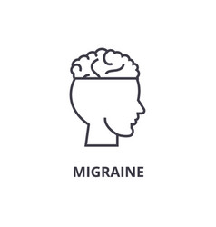 Migraine thin line icon sign symbol vector