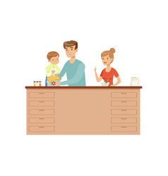 Mom dad and their little son cooking together vector