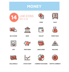 money - line design icons set vector image