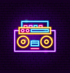 music recorder neon label vector image
