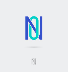 n and o monogram emblem flat linear letters vector image
