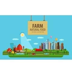Natural food farm and city vector