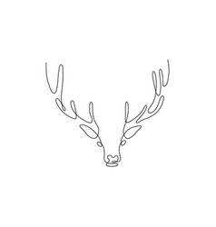 one line deer head design silhouette hand drawn vector image