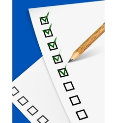 Pencil filling up questionnaire on white paper vector
