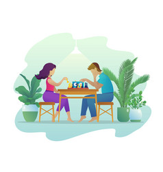 People playing chess together flat vector