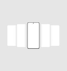 Phone frame mockup with blank app screens vector