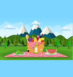 Picnic in the mountains vector