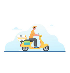 pizza delivery digital service motorbike vector image