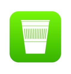 plastic office waste bin icon digital green vector image