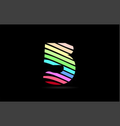 rainbow 5 five number stripes logo icon design vector image