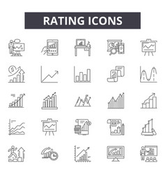 rating line icons signs set linear vector image