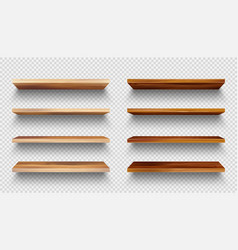 Realistic empty wooden store shelves set product vector