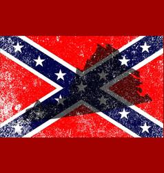 Rebel civil war flag with virginia map vector