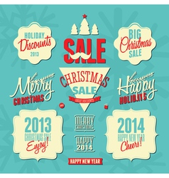 Retro style christmas design elements set vector