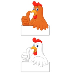Rooster cartoon giving thumb up vector