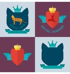 Royal pets flat badges vector