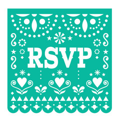 Rsvp respond please papel picado card vector