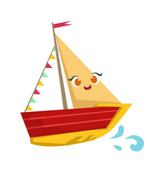 Sailing yaht with flag garland cute girly toy vector