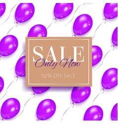 sale banner design with shiny purple balloons vector image