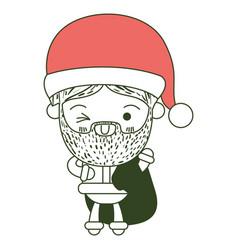 santa claus cartoon holding gift bag face vector image