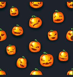 scary pumpkin lantern faces seamless halloween vector image