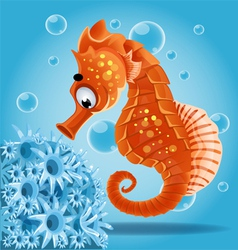 Sea horse on a blue background with actin vector
