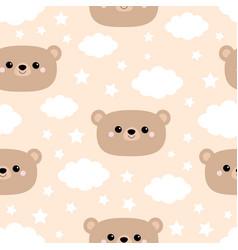 Seamless pattern bear face cloud in sky cute vector